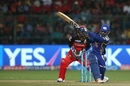Krunal Pandya heaves one into the leg side, Royal Challengers Bangalore v Mumbai Indians, IPL 2017, Bangalore, April 14, 2017