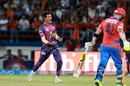 Rahul Chahar exults after outwitting Brendon McCullum, Gujarat Lions v Rising Pune Supergiant, IPL 2017, Rajkot, April 14, 2017