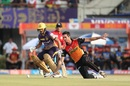 Ben Cutting tries to stop a single off his own bowling, Kolkata Knight Riders v Sunrisers Hyderabad, IPL 2017, Kolkata, April 15, 2017
