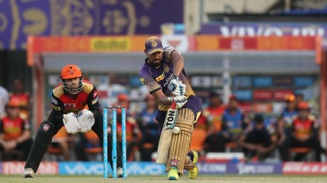 Yusuf Pathan defends the ball