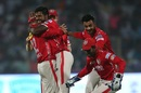 Varun Aaron is greeted by team-mates after he dismissed Karun Nair, Delhi Daredevils v Kings XI Punjab, IPL 2017, Delhi, April 15, 2017