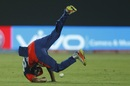 Shahbaz Nadeem tumbles down as he tries to take a catch, Delhi Daredevils v Kings XI Punjab, IPL 2017, Delhi, April 15, 2017