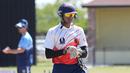 USA U-19 wicketkeeper Arjun Patel gets ready for a fielding drill, Pearland, April 6, 2017