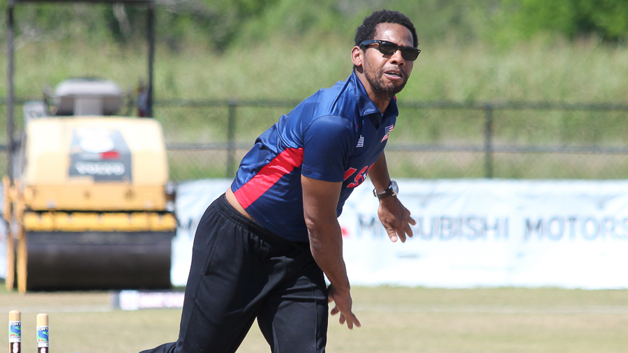 Camilus Alexander bowls during a training session