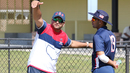 Former USA captain Sushil Nadkarni gives some batting tips to Ravi Timbawala, Pearland, April 7, 2017