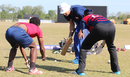Wicketkeeping guru Peter Anderson puts USA keepers Akeem Dodson and Ibrahim Khaleel through a golf ball catching drill, Pearland, April 8, 2017