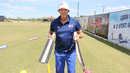 Peter Anderson shows off a prototype bat for training to catch edges, Pearland, April 8, 2017