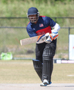 Ibrahim Khaleel bats during a trial match at a USA national camp, Pearland, April 8, 2017