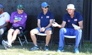 Peter Anderson (right), watches a USA trial match with Beau Casson (center) and Richard Allanby (left), Pearland, April 8, 2017