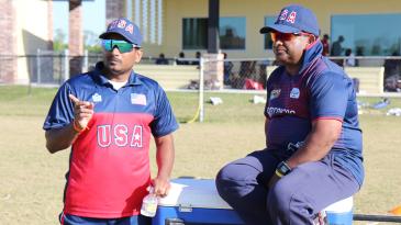 USA assistant coach Anand Tummala and USA head coach Pubudu Dassanayake observe a trial match