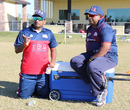 USA assistant coach Anand Tummala and USA head coach Pubudu Dassanayake observe a trial match, Pearland, April 8, 2017