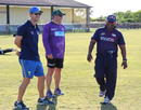 Beau Casson and Richard Allanby have a laugh with USA coach Pubudu Dassanayake, Pearland, April 8, 2017