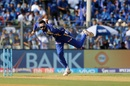 Krunal Pandya rolls his arm over during the powerplay, Mumbai Indians v Gujarat Lions, IPL 2017, Mumbai, April 16, 2017