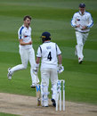 Ben Coad removed Ian Bell for 1 moments before the players left the field, Warwickshire v Yorkshire, County Championship, Division One, Edgbaston, 3rd day, April 16, 2017