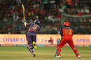 Ajinkya Rahane steps out and misses a straight one, Royal Challengers v Rising Pune, IPL 2017, Bengaluru, April 16, 2017