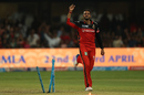 S Aravind celebrates after breaking through Steven Smith's defence, Royal Challengers v Rising Pune, IPL 2017, Bengaluru, April 16, 2017