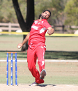 Amjad Khan finished off with a terrific spell at the death to end with 1 for 35, USA v Denmark, ICC World Cricket League Division Four, Los Angeles, November 2, 2016