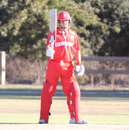 Freddie Klokker raises his bat after another half-century, USA v Denmark, ICC World Cricket League Division Four, Los Angeles, November 2, 2016