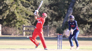 Freddie Klokker punches the ball in front of point, USA v Denmark, ICC World Cricket League Division Four, Los Angeles, November 2, 2016