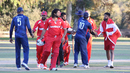 Stand-in captain Amjad Khan leads the handshakes for Denmark after the win, USA v Denmark, ICC World Cricket League Division Four, Los Angeles, November 2, 2016