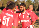 Zameer Khan gets congratulated for his unbeaten half-century, USA v Denmark, ICC World Cricket League Division Four, Los Angeles, November 2, 2016