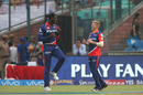 Sam Billings and Carlos Brathwaite commemorate Colin de Grandhomme's wicket with a celebratory jig, Kolkata Knight Riders v Delhi Daredevils, IPL 2017, Delhi, April 17, 2017