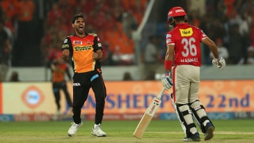 Bhuvneshwar Kumar is pumped up after dismissing Manan Vohra