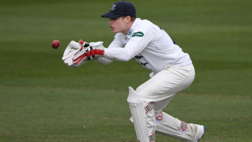 Sussex wicketkeeper Ben Brown collects a ball
