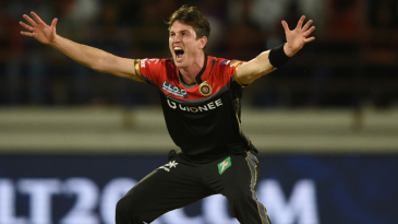 Adam Milne appeals for the wicket of Brendon McCullum