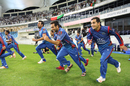 Fans rejoice as Afghanistan players sprint out after the winning runs, Afghanistan v Ireland, Desert T20, Final, Dubai, January 20, 2017