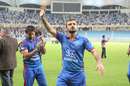 Nawroz Mangal waves goodbye to the fans for the last time, Afghanistan v Ireland, Desert T20, Final, Dubai, January 20, 2017