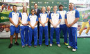 James Sutherland, Cricket Australia's CEO, and Ian Narev,  CEO of Commonwealth Bank, pose with Ellyse Perry, Meg Lanning and Lisa Sthalekar and the captains of Australia's three National Disability teams, Gavan Hicks (ID), Lindsay Heaven (Blind) and Kym Daley (Deaf), Sydney, October 17, 2016
