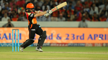 Kane Williamson bunts one away to the leg side