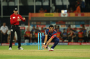 Zaheer Khan tries to field off his own bowling, Sunrisers Hyderabad v Delhi Daredevils, IPL 2017, Hyderabad, April 19, 2017