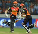 Kane Williamson and Shikhar Dhawan run between the wickets, Sunrisers Hyderabad v Delhi Daredevils, IPL 2017, Hyderabad, April 19, 2017