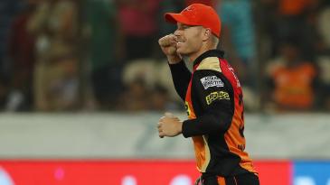 David Warner rejoices after his side sealed the victory over Delhi Daredevils