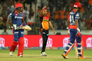 Siddarth Kaul took out Angelo Mathews off the penultimate ball of the game, Sunrisers Hyderabad v Delhi Daredevils, IPL 2017, Hyderabad, April 19, 2017