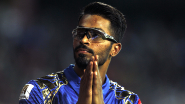 Hardik Pandya gestures at the spectators