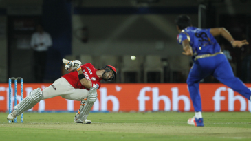 Glenn Maxwell takes evasive action against a Jasprit Bumrah bouncer