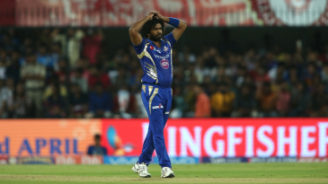 Lasith Malinga reacts on the field