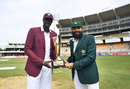 Jason Holder and Misbah-ul-Haq pose with the series trophy, West Indies v Pakistan, 1st Test, Jamaica, 1st day, April 21, 2017