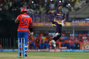 Umesh Yadav rejoices after bowling Dwayne Smith, Kolkata Knight Riders v Gujarat Lions, IPL 2017, Kolkata, April 21, 2017