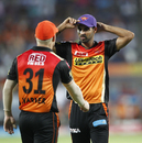 David Warner with the orange cap, and Bhuvneshwar Kumar with the purple one, Rising Pune Supergiant v Sunrisers Hyderabad, IPL 2017, Pune, April 22, 2017