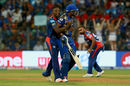 Kagiso Rabada and Kieron Pollard: no inch given, Mumbai Indians v Delhi Daredevils, IPL, Mumbai, April 22, 2017