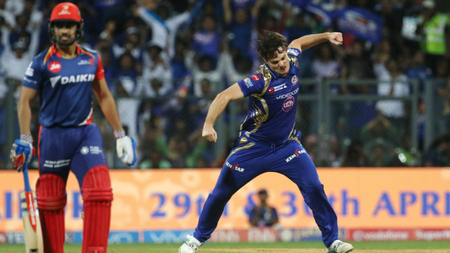 Mitchell McClenaghan with his  nerve-popping celebration after ratting Daredevils' top order