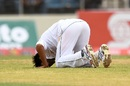 Mohammad Amir performs the sajdah after taking a five-wicket haul, West Indies v Pakistan, 1st Test, Jamaica, 2nd day, April 22, 2017