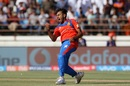 Shubham Agarwal was charged up after claiming his maiden IPL wicket, Gujarat Lions v Kings XI Punjab, IPL 2017, Rajkot, April 23, 2017