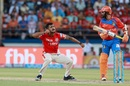 KC Cariappa celebrates after trapping Akshdeep Nath for zero, Gujarat Lions v Kings XI Punjab, IPL 2017, Rajkot, April 23, 2017