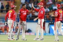 Kings XI Punjab players celebrate after Sandeep Sharma removed Andrew Tye, Gujarat Lions v Kings XI Punjab, IPL 2017, Rajkot, April 23, 2017