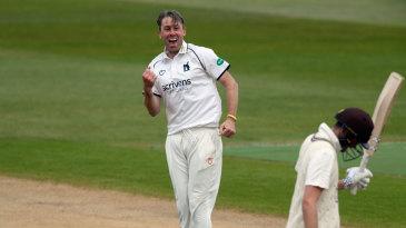 Rikki Clarke celebrates the wicket of Dom Sibley